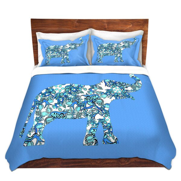 Willacoochee Susie Kunzelman Elephant II Ribbons Blue Microfiber Duvet Covers by Bungalow Rose