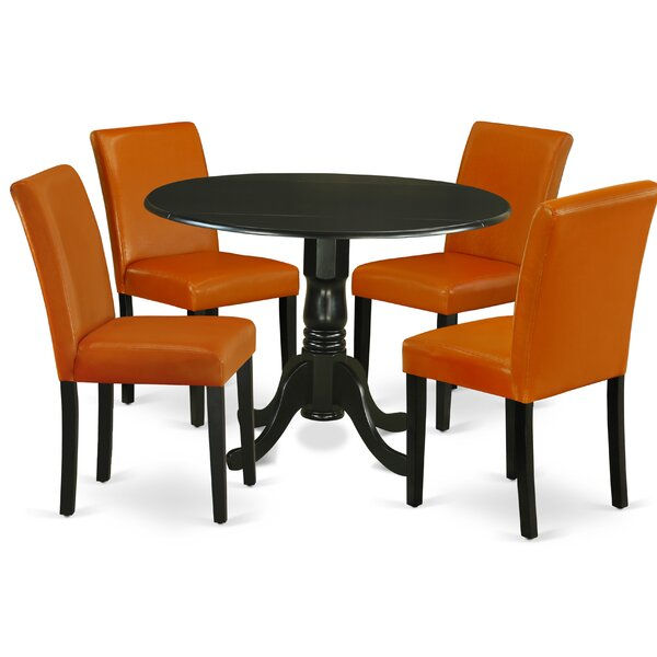 Hedwige 5 Piece Drop Leaf Solid Wood Dining Set by Winston Porter Winston Porter