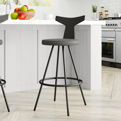 Phenomenal Azura 27 Swivel Bar Stool Brayden Studio Upholstery Blackgray Gmtry Best Dining Table And Chair Ideas Images Gmtryco