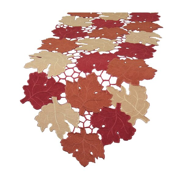 Cutwork Leaves with Poly-Suede Table Runner by Xia Home Fashions