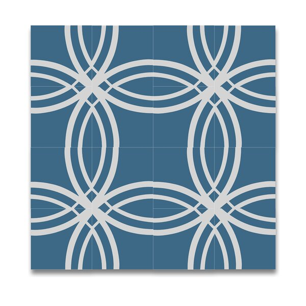 Tetouan Handmade Cement 8 x 8 Tile in Blue/White by Moroccan Mosaic
