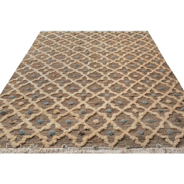 One-of-a-Kind Aalborg Moroccan Hand-Knotted Wool Tan/Ivory Area Rug by Isabelline