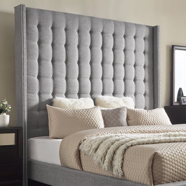 Luxullian Button Upholstered Wingback Headboard by Rosdorf Park
