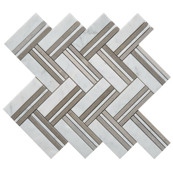 Quilt Martis Random Sized Marble Mosaic Tile in White/Gray by Matrix Stone USA