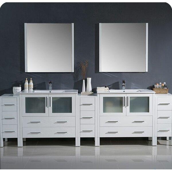 Torino 108 Double Bathroom Vanity Set with Mirror by Fresca