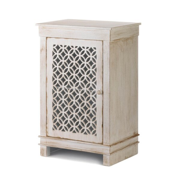 Ardilla Geometric Cutwork Distressed 1 Door Accent Cabinet by Bungalow Rose Bungalow Rose
