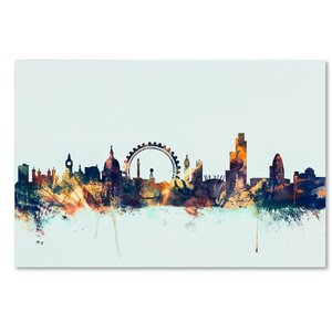 'London England Skyline Blue 2' Graphic Art on Wrapped Canvas by Ivy Bronx