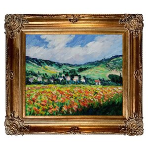 Poppy Field Near Giverny' by Claude Monet Framed Painting by Tori Home
