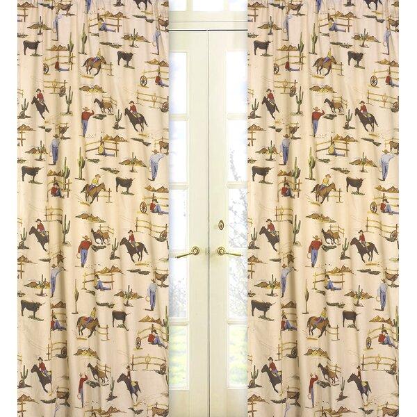 Wild West Cowboy Graphic Print & Text Semi-Sheer Rod pocket Curtain Panels (Set of 2) by Sweet Jojo Designs