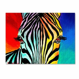 Zebra by DawgArt Painting Print on Wrapped Canvas