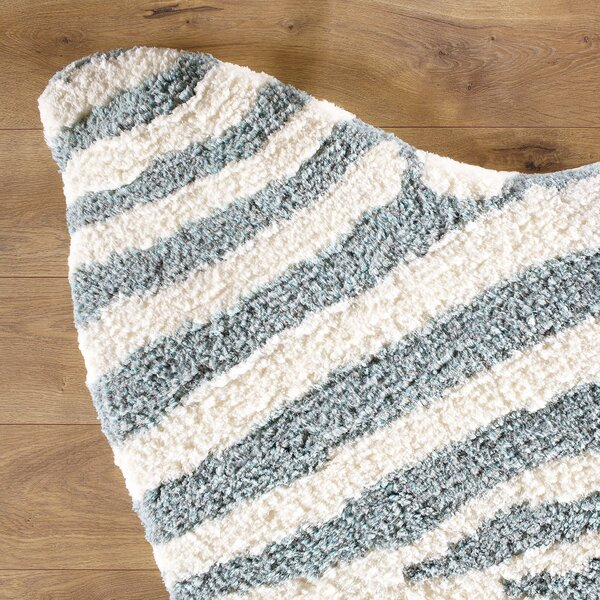 Zebra Stripe Hand-Tufted Faux Cowhide Ivory/Turquoise Area Rug by Birch Lane Kids™