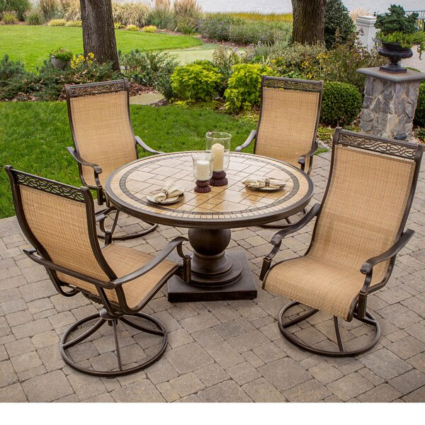Carlee 5 Piece Dining Set with Umbrella by Fleur De Lis Living