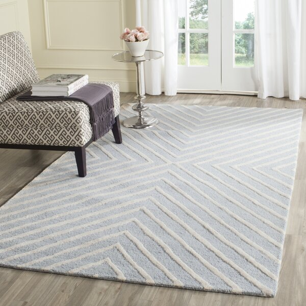 Weybridge Hand Woven Wool Light Blue/Ivory Area Rug by George Oliver