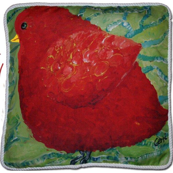 Adelinna Little Red Birdie Outdoor Throw Pillow by Red Barrel Studio