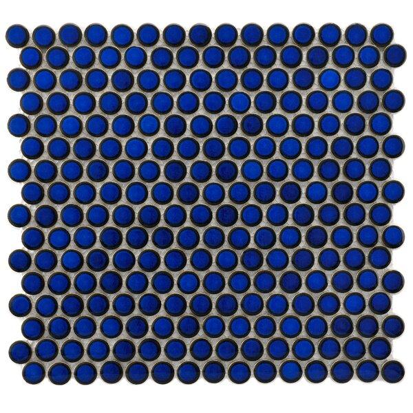 Penny 0.8 x 0.8 Porcelain Mosaic Tile in Blue Eye by EliteTile