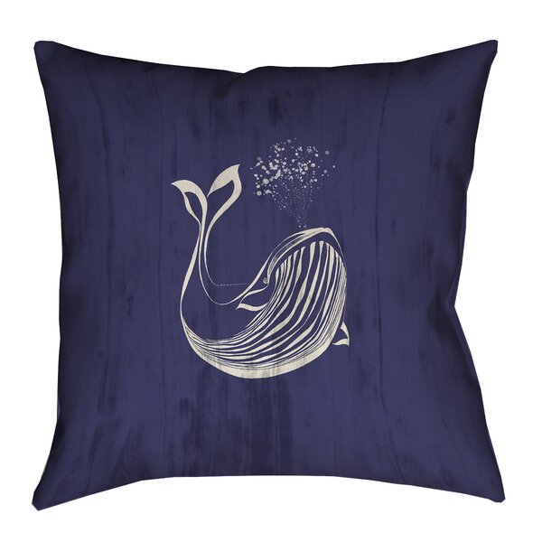 Lauryn Whale Outdoor Throw Pillow by Longshore Tides