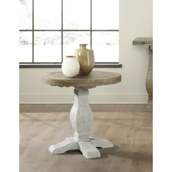 Review Casanovia Solid Wood Pedestal End Table
