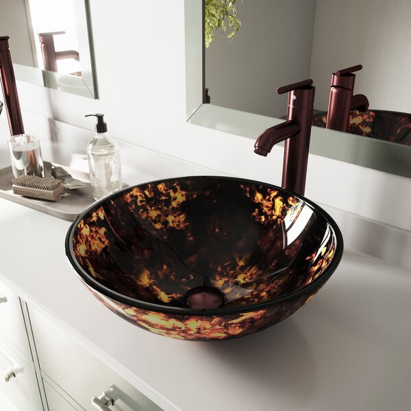 VIGO Brown and Gold Fusion Glass Circular Vessel Bathroom Sink with Faucet by VIGO