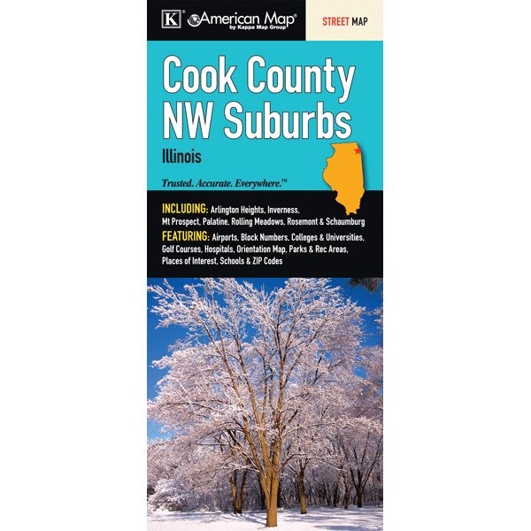 Cook County Northwest Suburbs Fold Map by Universal Map