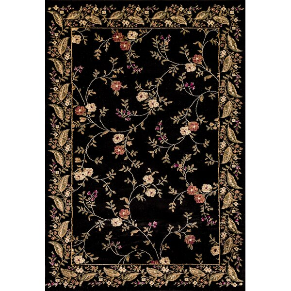 Rindge Floral Black Area Rug by August Grove
