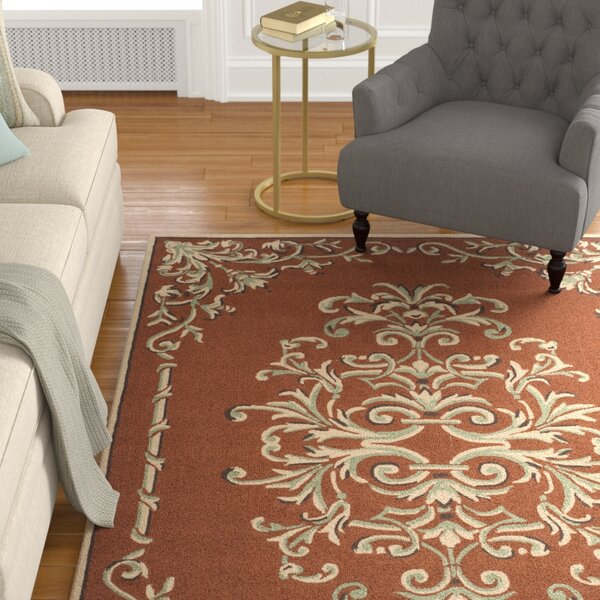 Rockingham Hand-Hooked Rust Area Rug by Astoria Grand