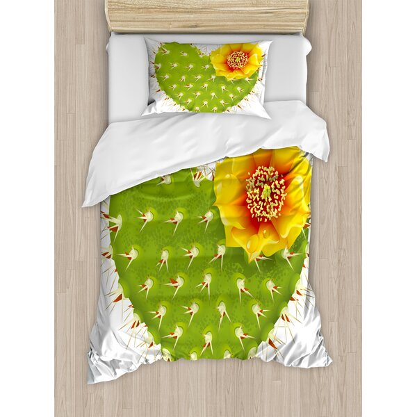 Thorny Cactus in the Shape of Heart and Flower Opuntia Spikes Duvet Set by Ambesonne