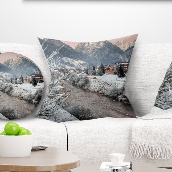 Landscape Dolomites Winter Italy Pillow by East Urban Home