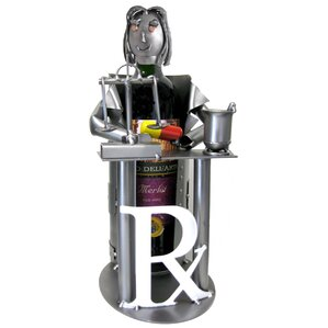 Female Pharmacist 1 Bottle Tabletop Wine Rack by H & K SCULPTURES