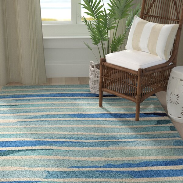 Jago Hand-Tufted Ivory/Blue Area Rug by Highland Dunes