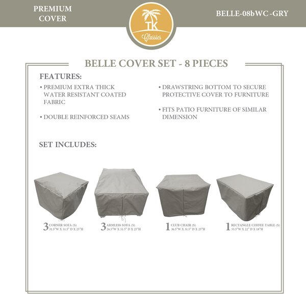 Bee 9 Piece Water Resistant Patio Furniture Cover Set by TK Classics