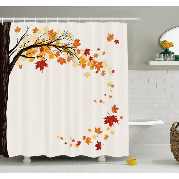 Ambesonne Fall Leaf Group Motion In Mother Earth Transition From Summer To Winter Decor Shower Curtain Set Reviews