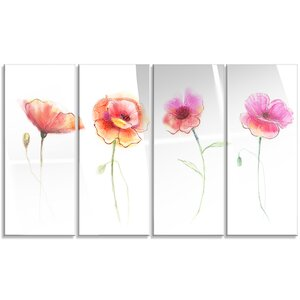 'Watercolor Poppy Flowers Sketch' 4 Piece Painting Print on Wrapped Canvas Set by Design Art