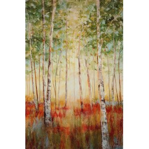 'Birch Woods' by Nan Painting Print on Wrapped Canvas by Wexford Home