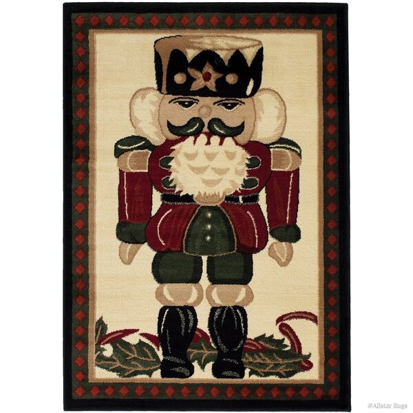 Holiday Christmas Nutcracker High-Quality Wover Red Area Rug by The Holiday Aisle
