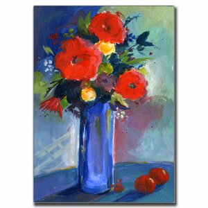 'Red Flowers' by Sheila Golden Framed Painting Print on Wrapped Canvas by Trademark Fine Art