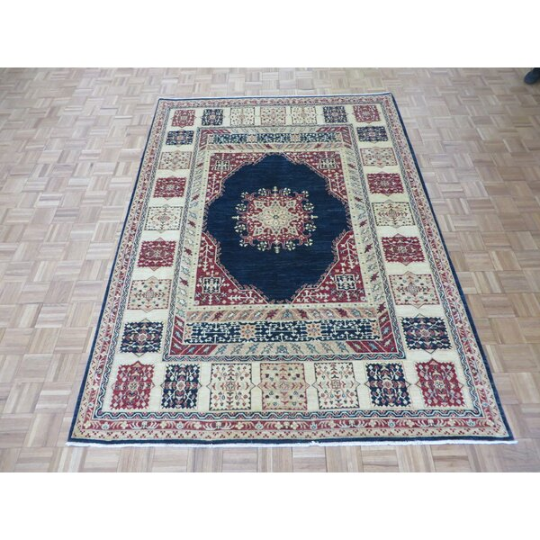 One-of-a-Kind Rhyne Peshawar Hand-Knotted Wool Navy Blue Area Rug by Astoria Grand