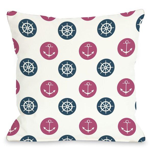 Anchor Wheel Polka Dot Throw Pillow by One Bella Casa
