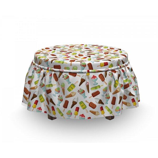 Ice Cream Frozen Desserts 2 Piece Box Cushion Ottoman Slipcover Set By East Urban Home