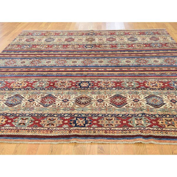 One-of-a-Kind Tillman Super Khorjin Hand-Knotted Red/Blue Area Rug by Millwood Pines