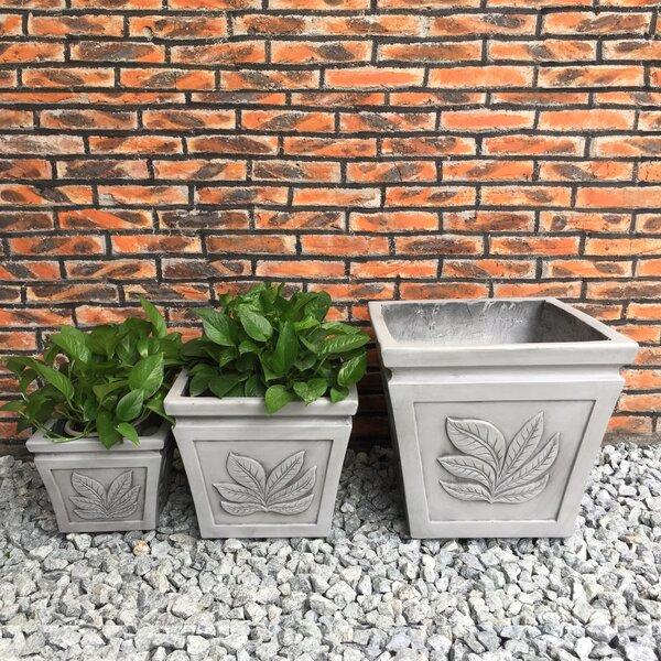 Linden Boulevard Square Leaf 3-Piece Pot Planter Set by Red Barrel Studio