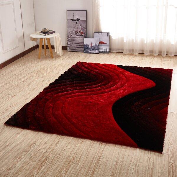 Kleiber Shaggy 3D Red/Black Area Rug by Orren Ellis
