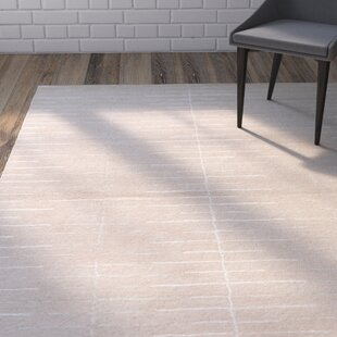 Best Reviews Heitzman Hand-Tufted Beige/White Area Rug By Wrought Studio