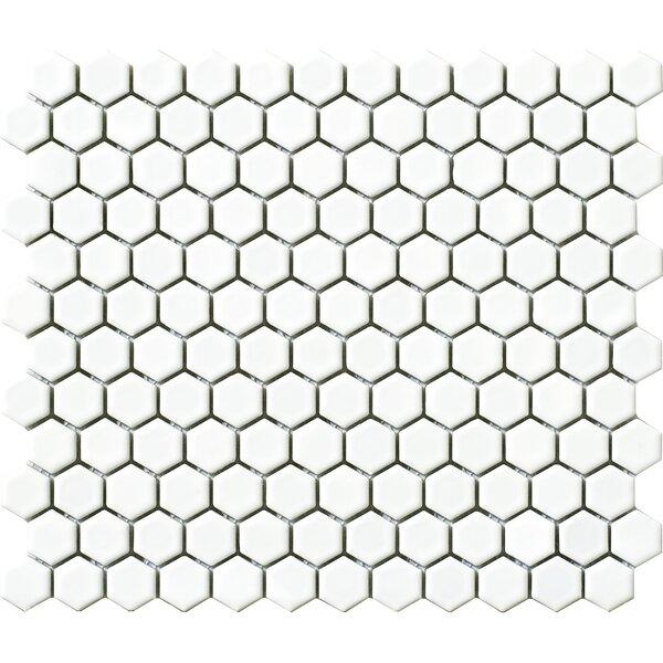Vintage .75 x .75 Porcelain Mosaic Tile in White Hexagon by Walkon Tile