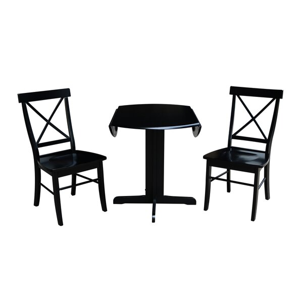 Trepanier 3 Piece Drop Leaf Solid Wood Dining Set by August Grove