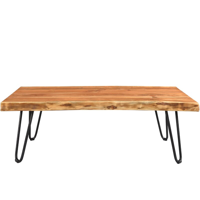 union rustic kourtney sustainable live edge acacia coffee table
