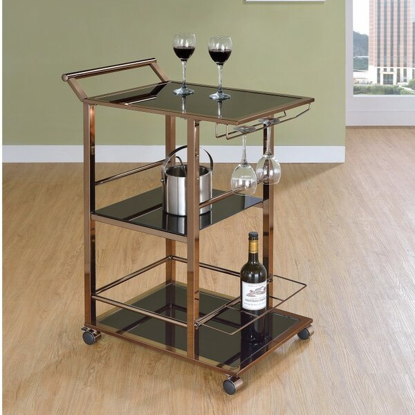 Glore Functional Metal and Glass Bar Carts with Wine Storage by Latitude Run