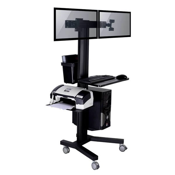 TygerClaw Mobile 2 TVs Floor Mount for Flat Panel Screens by Homevision Technology