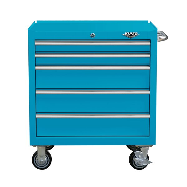 Premium Series 35 Wide 5 Drawer Bottom Rollaway Chest By Viper Tool Storage.