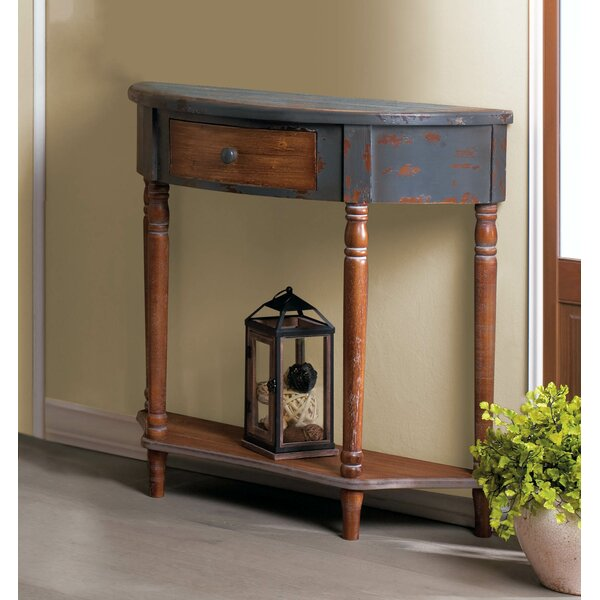 Review Wyble Wood Half Moon Console Table