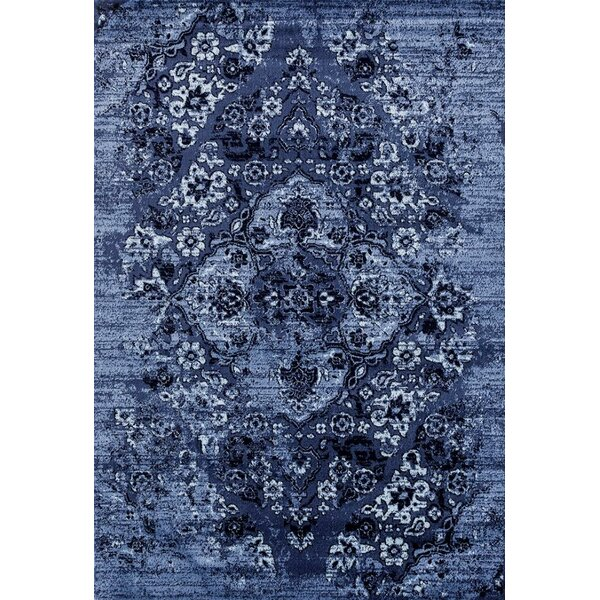 Hirano Distressed Denim Area Rug by Bloomsbury Market
